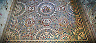 Wide picture of the Roman mosaics of the Cubilcle with Erotic Scene, a geometric mosiac with an erotic scene at its center, room no 48 at the Villa Romana del Casale, first quarter of the 4th century AD. Sicily, Italy. A UNESCO World Heritage Site. .<br /> <br /> If you prefer to buy from our ALAMY PHOTO LIBRARY  Collection visit : https://www.alamy.com/portfolio/paul-williams-funkystock/villaromanadelcasale.html<br /> Visit our ROMAN MOSAICS  PHOTO COLLECTIONS for more photos to buy as buy as wall art prints https://funkystock.photoshelter.com/gallery/Roman-Mosaics-Roman-Mosaic-Pictures-Photos-and-Images-Fotos/G00008dLtP71H_yc/C0000q_tZnliJD08