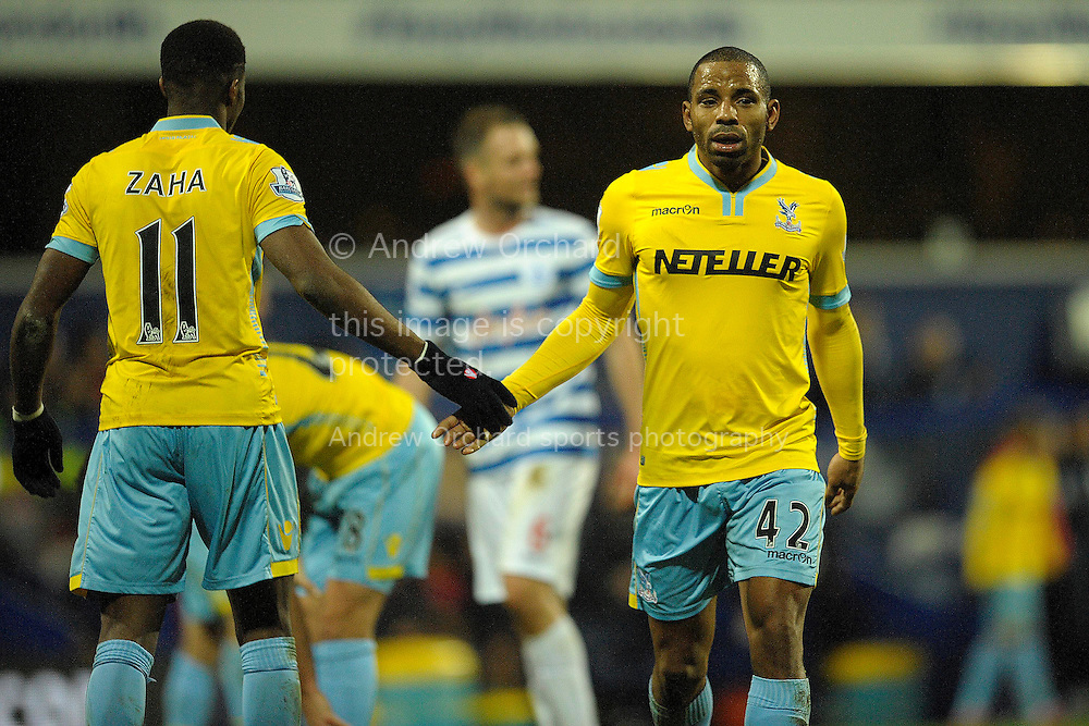 Wilfried Zaha of Crystal Palace (11) withJason Puncheon of Crystal Palace. Barclays Premier league match, Queens Park Rangers v Crystal Palace at Loftus Road in London on Sunday 28th December 2014.<br /> pic by John Patrick Fletcher, Andrew Orchard sports photography.