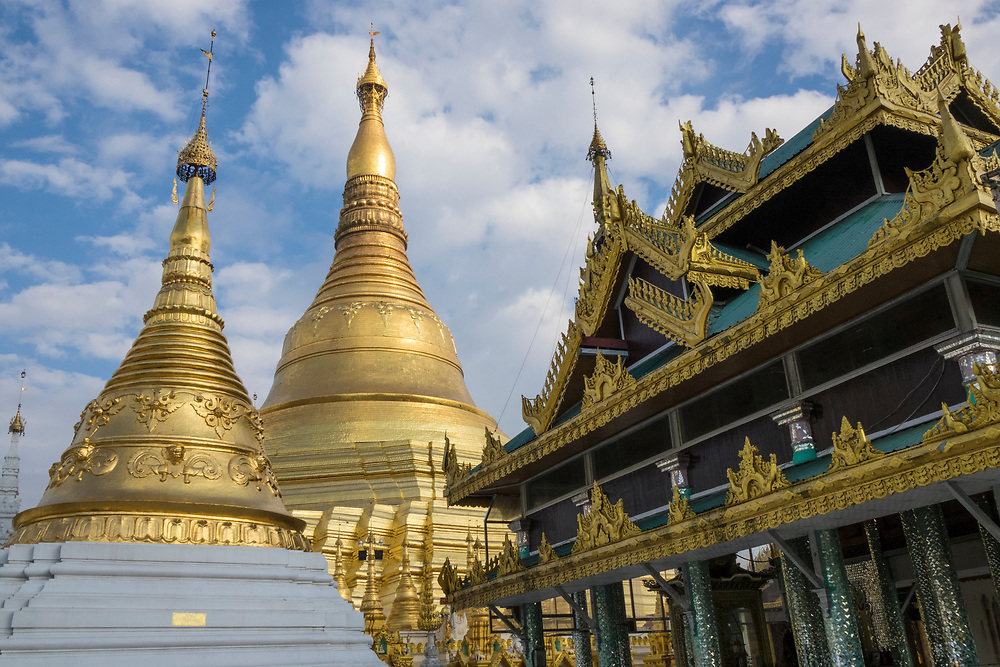 Shwedagon Pagoda and temples in the Complex, situated on Singuttara Hill in the center of Yangon (Rangoon), is the most sacred Buddhist stupa in Myanmar and one of the most important religious reliquary monuments in the world