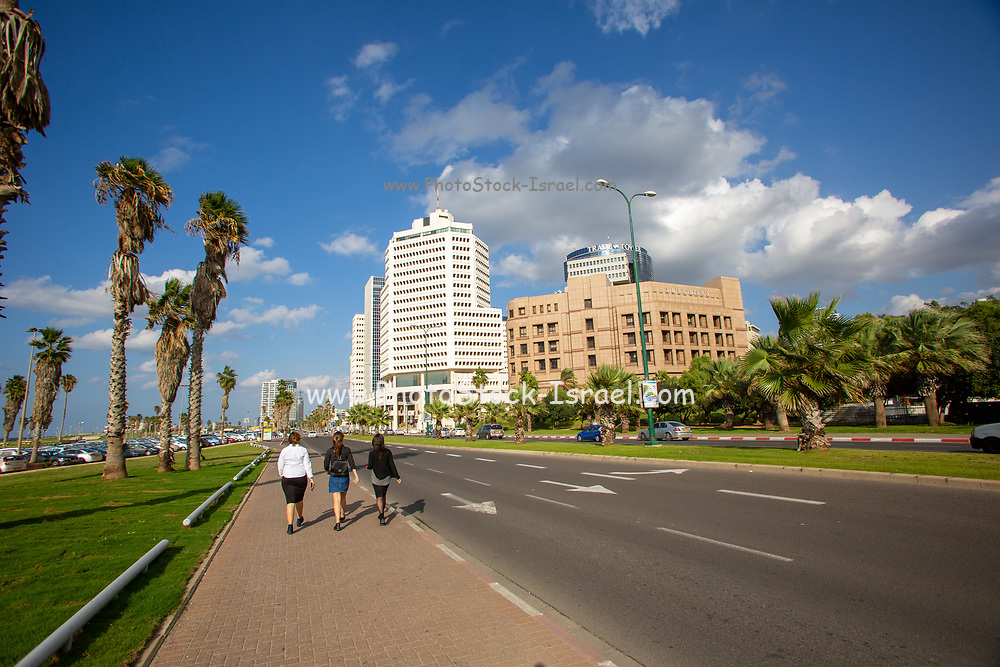 Charles Clore Park a beach front park between Tel Aviv and Jaffa. Israel looking north to Tel Aviv