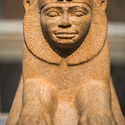 The Granite sphinx of Taharqo (circa 690-664 BC, Egypt) on display at the British Museum. The British Museum in downtown London us dedicated to human history and culture and has about 8 million works in its permanent collection.