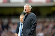 Jose Mourinho, the Chelsea manager shouts at this players from the touchline. Barclays Premier League, West Ham Utd v Chelsea at The Boleyn Ground, Upton Park in London on Saturday 24th October 2015.<br /> pic by John Patrick Fletcher, Andrew Orchard sports photography.