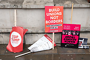 Damp placards in Central London during a demonstration against U.S. President Donald Trumps state visit to the U.K on the 4th June 2019 in London in the United Kingdom. Day two of President Trumps three-day state visit, which includes lunch with the Queen, a State Banquet at Buckingham Palace as well as business meetings with the Prime Minister and the Duke of York, before travelling to Portsmouth to mark the 75th anniversary of the D-Day landings.