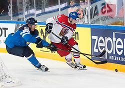 Mikko Rantanen of Finland vs Jakub Krejcik of Czech Republic during the 2017 IIHF Men's World Championship group B Ice hockey match between National Teams of Finland and Czech Republic, on May 8, 2017 in Accorhotels Arena in Paris, France. Photo by Vid Ponikvar / Sportida