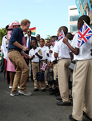 Prince Harry at a community sports event at Queens Park Grounds in Grenada, during the second leg of his Caribbean tour.