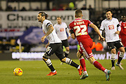 Derby County midfielder Bradley Johnson looks for a pass from midfield during the Sky Bet Championship match between Derby County and Cardiff City at the iPro Stadium, Derby, England on 21 November 2015. Photo by Aaron Lupton.