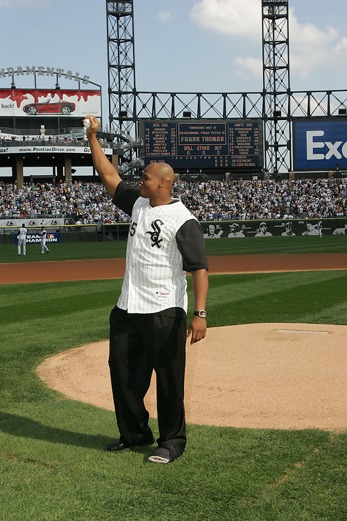 CHICAGO - OCTOBER 4:  Frank Thomas #35 of the Chicago White Sox acknowledges the fans at U.S. Cellular Field on October 4, 2005 in Chicago, Illinois prior to Game 1 of the American League Divisional Series between the Boston Red Sox and the Chicago White Sox.  Thomas played for the White Sox from 1990-2005.  (Photo by Ron Vesely)