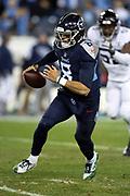 Tennessee Titans quarterback Marcus Mariota (8) runs the ball during the week 14 regular season NFL football game against the Jacksonville Jaguars on Thursday, Dec. 6, 2018 in Nashville, Tenn. The Titans won the game 30-9. (©Paul Anthony Spinelli)