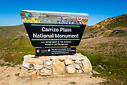 Entrance sign at Carrizo Plain National Monument, California USA