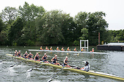 """Henley on Thames, United Kingdom, 23rd June 2018, Saturday,   """"Henley Women's Regatta"""",  view, Top, University of Iowa and Yale University, getting attached to the start pontoon for their,  Quarter final, Women's Championships EightsHenley Reach, River Thames, England, © Peter SPURRIER/Alamy Live News"""