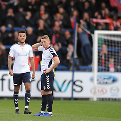 TELFORD COPYRIGHT MIKE SHERIDAN 23/3/2019 - Dom Smith and Darryl Knights of AFC Telford show their disappointment at full time during the FA Trophy Semi Final fixture between AFC Telford United and Leyton Orient at the New Bucks Head