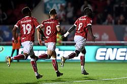 Bristol City's Famara Diedhiou (right) celebrates scoring his side's first goal of the game during the Carabao Cup, third round match at Ashton Gate Stadium, Bristol.