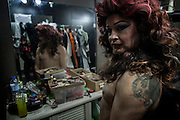 """Suelly Cadillac and Alan yang in the bar backstage """"Margem Sul"""" in Almada, preparing for the transvestites show"""