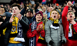 Newport fans chant as there team come out. - Mandatory by-line: Alex James/JMP - 07/02/2018 - FOOTBALL - Wembley Stadium - London, England - Tottenham Hotspur v Newport County - Emirates FA Cup fourth round proper