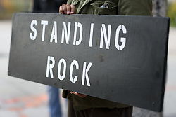 December 3, 2016 - Los Angeles, California, United States - A sign held during a protest against the Dakota Access Pipeline on December 3, 2016 in Los Angeles, California. Protesters gathered in solidarity with the Sioux tribe in their efforts to stop the construction of the oil pipeline. (Credit Image: © Ronen Tivony/NurPhoto via ZUMA Press)