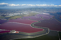 Salt ponds as seen from the air, on the southeast side of San Francisco Bay.