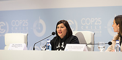 4 December 2019, Madrid, Spain: Lorena Aguilar, deputy minister of Foreign Affairs of Costa Rica speaks at a press conference at COP25 in Madrid.