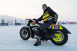 Oleg Goryunov on his Indian Scout ice racer at the Baikal Mile Ice Speed Festival. Maksimiha, Siberia, Russia. Thursday, February 27, 2020. Photography ©2020 Michael Lichter.