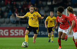 October 9, 2018 - Biel, SWITZERLAND - Belgium's Tessa Wullaert and Switzerland's forward Eseosa Aigbogun pictured in action during a soccer game between Switzerland and Belgium's national team the Red Flames, Tuesday 09 October 2018, in Biel, Switzerland, the return leg of the play-offs qualification games for the women's 2019 World Cup. BELGA PHOTO DAVID CATRY (Credit Image: © David Catry/Belga via ZUMA Press)