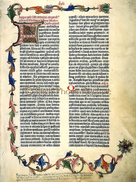 The Gutenberg Bible. First major book printed with a movable type printing press, marking the start of the 'Gutenberg Revolution' and the age of the printed book. Widely hailed for its high aesthetic and artistic qualities, the book has iconic status in the West.   1450s. Only twenty-one complete copies survive, and they are considered by many sources to be the most valuable books in the world