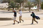 Abu Dhabi, United Arab Emirates (UAE). March 20th 2009.<br /> Al Ghazal Golf Club.<br /> 36th Abu Dhabi Men's Open Championship.<br /> Paul King (left) and Abdulla Al Musharrekh (middle)