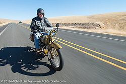 Jeff Tiernan riding his 1929 Henderson KJ during Stage 15 (244 miles) of the Motorcycle Cannonball Cross-Country Endurance Run, which on this day ran from Lewiston, Idaho to Yakima, WA, USA. Saturday, September 20, 2014.  Photography ©2014 Michael Lichter.