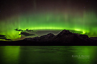 Northern Lights over Lake Minnewanka in Banff National Park, Alberta, Canada