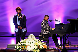 20 November 2015. Orpheum Theater, New Orleans, Louisiana. <br /> Memorial service for musician Allen Toussaint. <br /> Davelle Crawford and Irma Thomas perform on stage.<br /> Photo; Charlie Varley/varleypix.com