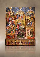 Gothic altarpiece tableau of the Archangel Gabriel  by Joan Mates of Vlafranca de Penedes, circa 1410-1430, tempera and gold leaf on for wood from the church of Santa Maria de Penafel, Alt Penedes, Spain.  National Museum of Catalan Art, Barcelona, Spain, inv no: MNAC  214533.  Against a art background. . .<br /> <br /> If you prefer you can also buy from our ALAMY PHOTO LIBRARY  Collection visit : https://www.alamy.com/portfolio/paul-williams-funkystock/gothic-art-antiquities.html  Type -     MANAC    - into the LOWER SEARCH WITHIN GALLERY box. Refine search by adding background colour, place, museum etc<br /> <br /> Visit our MEDIEVAL GOTHIC ART PHOTO COLLECTIONS for more   photos  to download or buy as prints https://funkystock.photoshelter.com/gallery-collection/Medieval-Gothic-Art-Antiquities-Historic-Sites-Pictures-Images-of/C0000gZ8POl_DCqE