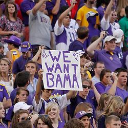 October 22, 2011; Baton Rouge, LA, USA; LSU Tigers fans hold up a sign following a win over the Auburn Tigers at Tiger Stadium. LSU defeated Auburn 45-10. Mandatory Credit: Derick E. Hingle-US PRESSWIRE / © Derick E. Hingle 2011
