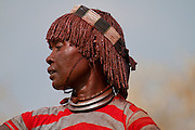 Africa, Ethiopia, Omo River Valley Hamer Tribe woman. The hair is coated with ochre mud and animal fat