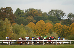 Runners and riders in action in the Unibet Extra Place Offers Every Day Nursery at Kempton Park Racecourse, Surrey. Picture date: Monday October 11, 2021.