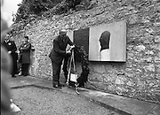 Annual Wolfe Tone Commemoration.  (R65)..1987..11.10.1987..10.11.1987..11th October 1987..The annual Fianna Fáil Wolfe Tone commemoration was held at Bodenstown today, the keynote oration was given by An Taoiseach, Charles Haughey TD...Image shows An Taoiseach, Charles Haughey,laying the wreath at the memorial to commemorate Theobald Wolfe Tone.