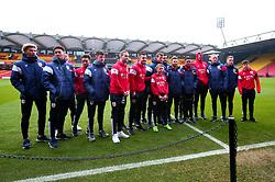 Bristol City pose with mascot for the day at Watford - Mandatory by-line: Robbie Stephenson/JMP - 06/01/2018 - FOOTBALL - Vicarage Road - Watford, England - Watford v Bristol City - Emirates FA Cup third round proper