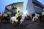 Police on horseback patrol past  the Boleyn Ground during the 1st half of the match. scenes around the Boleyn Ground, Upton Park in East London as West Ham United play their last ever game at the famous ground before their move to the Olympic Stadium next season. Barclays Premier league match, West Ham Utd v Man Utd at the Boleyn Ground in London on Tuesday 10th May 2016.<br /> pic by John Patrick Fletcher, Andrew Orchard sports photography.