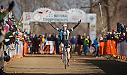 SHOT 1/12/14 3:10:31 PM - Katherine Compton (#1) of Colorado Springs, Co. celebrates as she crosses the finish line in the Women's Elite race at the 2014 USA Cycling Cyclo-Cross National Championships at Valmont Bike Park in Boulder, Co. Compton won the race with a time of 42.36. (Photo by Marc Piscotty / © 2014)