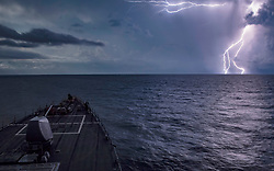 BLACK SEA (Aug. 22, 2018) The Arleigh Burke-class guided-missile destroyer USS Carney (DDG 64) transits the Black Sea, Aug. 22, 2018. Carney, forward-deployed to Rota, Spain, is on its fifth patrol in the U.S. 6th Fleet area of operations in support of regional allies and partners as well as U.S. national security interests in Europe and Africa. (U.S. Navy photo by Mass Communication Specialist 1st Class Ryan U. Kledzik/Released) 180822-N-UY653-544
