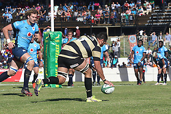 Zandre Jordaan of Boland scores a try during the Currie Cup premier division match between the Boland Cavaliers and The Blue Bulls held at Boland Stadium, Wellington, South Africa on the 23rd September 2016<br /> <br /> Photo by:   Shaun Roy/ Real Time Images