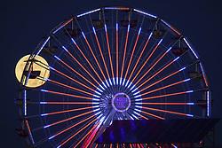 November 14, 2016 - Santa Monica, CA, U.S. - The super moon full moon sets behind the Santa Monica Pier Pacific Park Ferris Wheel on Monday, November 14, 2016 in Santa Monica, Calif. ¬© 2016 Patrick T. Fallon (Credit Image: © Patrick Fallon via ZUMA Wire)