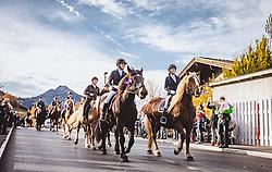 THEMENBILD - Der Leonhardiritt ist eine Prozession zu Pferd, die zum Brauchtum im Österreich- Bayrischen- Raum zählt. Sie findet zu Ehren des hl. Leonhard statt, welcher Schutzpatron landwirtschaftlicher Tiere, Gefangener und Bergleute ist, aufgenommen am 06. November 2018, Leogang, Österreich // The Leonhardiritt is a procession by horse, which counts to the Tradition in Austria- Bavarian area. It is held in honor of St. Leonhard, which is the patron of agricultural animals, prisoners and miners on 2018/11/06, Leogang, Austria. EXPA Pictures © 2018, PhotoCredit: EXPA/ Stefanie Oberhauser