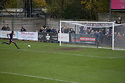 Team captain Danny Mills scores his second goal for Dulwich Hamlet FC v Chippenham Town in the FA Trophy third qualifying round at Champion Hill on the 23rd November 2019 in South London in the United Kingdom.