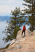Hiking on the Flume Trail, Lake Tahoe, NV (model released)