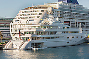 Cruise Ship and private yacht at Prince George Wharf, Nassau, Bahamas, Caribbean