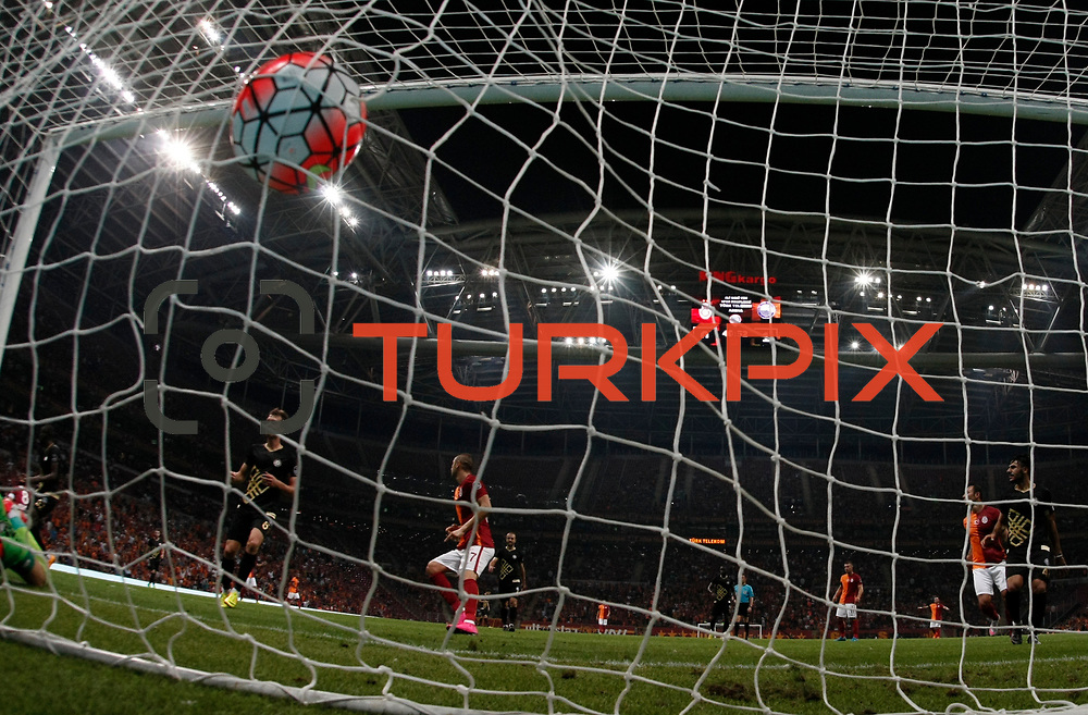Galatasaray's Burak Yilmaz (C) during their Turkish Super League soccer match Galatasaray between Osmanlispor at the AliSamiYen Spor Kompleksi TT Arena at Seyrantepe in Istanbul Turkey on Monday, 24 August 2015. Photo by Aykut AKICI/TURKPIX