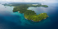 Aerial view of Punta Cristo, the northernmost point of Coiba Island.<br /> <br /> Coiba National Park<br /> Panama