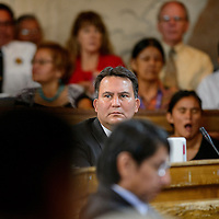 072114  Adron Gardner/Independent<br /> <br /> Navajo Nation council delegate Dwight Witherspoon looks on for the start of the summer session of the Navajo Nation Tribal Council in Window Rock Monday.