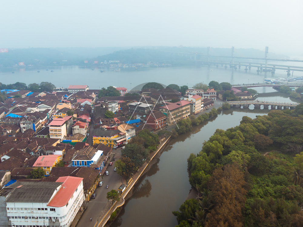 Aerial view of Fontainhas neighbourhood in old quarter Panjim, overlooking Mandovi river in Central Goa , India