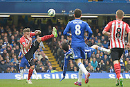 Diego Costa of Chelsea attempting a bicycle kick. Barclays Premier league match, Chelsea v Southampton at Stamford Bridge in London on Sunday 15th March 2015.<br /> pic by John Patrick Fletcher, Andrew Orchard sports photography.