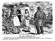 """The New Education Act. Considerate landlord. """"Are you wanting anything done to your cottage, Mr Grunsle?"""" Mrs Grunsle. """"Well, sir, I was a goin' to arst you if you'd build a little room for our J'mima. The children do disturb her so when she's a studyin'!!"""""""