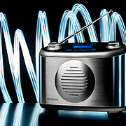 A light painted studio product shot of an Hitachi DAB digital radio, photographed in the Hype commercial photography studio.